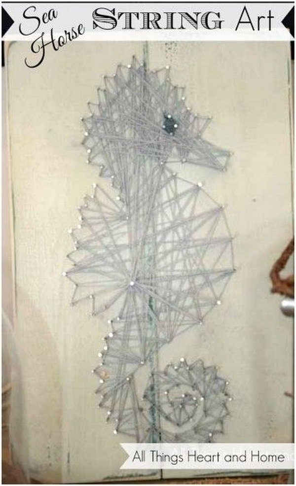 Easy Sea Horse String Art. Get the steps