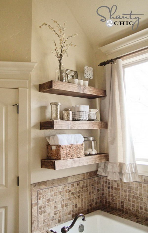 DIY Wooden Floating Shelves. Get the instructions