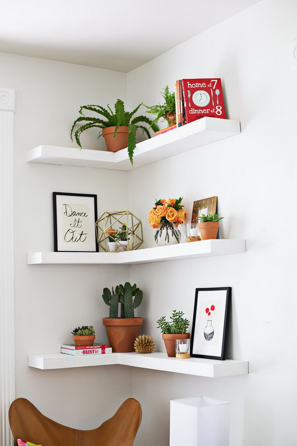 White Floating Shelves. See how to make it