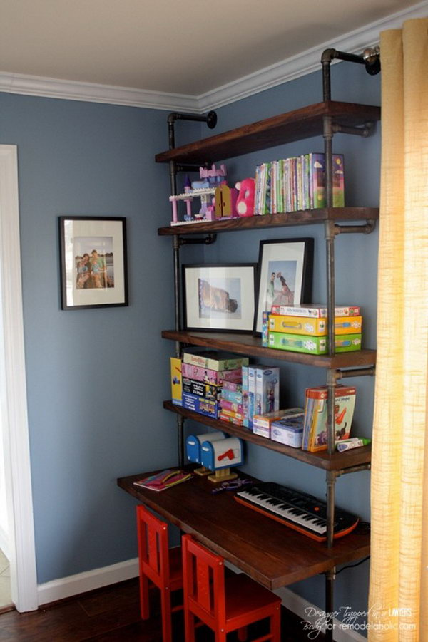 DIY Industrial Pipe Shelves and Desk. Get the directions