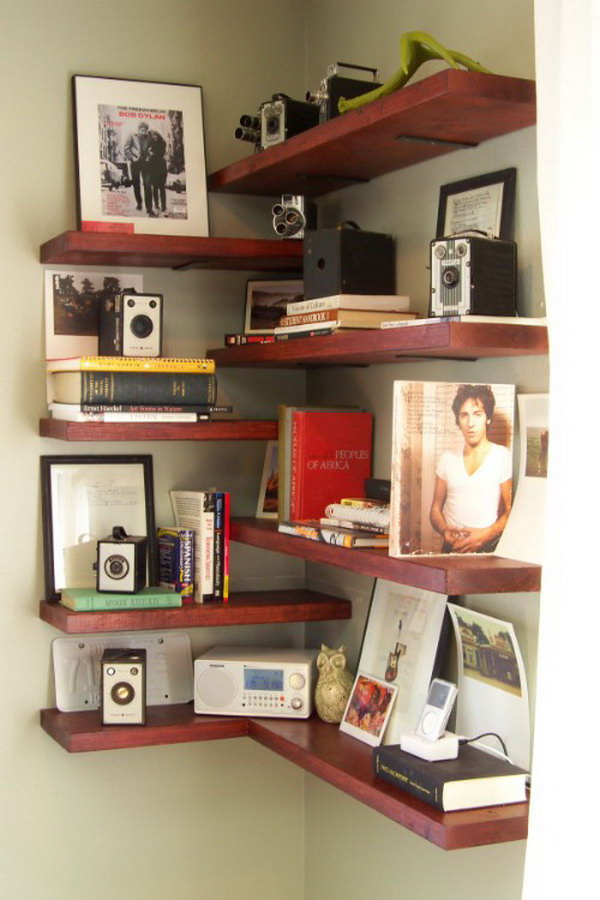 DIY Corner Shelves. Get the tutorial