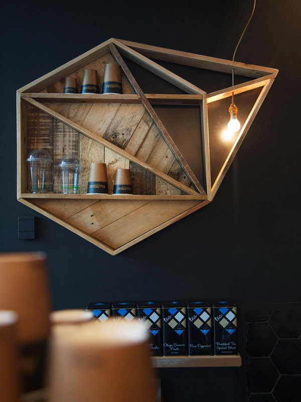 Unique Geometric Shelving. See more details