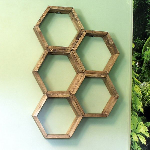 DIY Honeycomb Shelves. DIY instructions and project credit