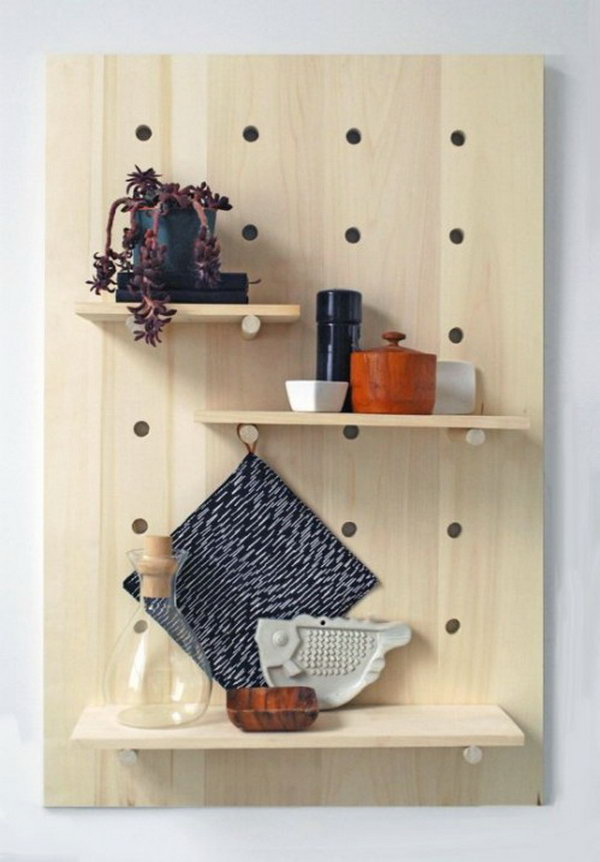 DIY Pegboard Shelves. DIY instructions