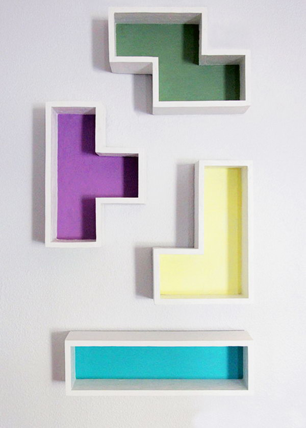 DIY Tetris Shelves. See the directions.