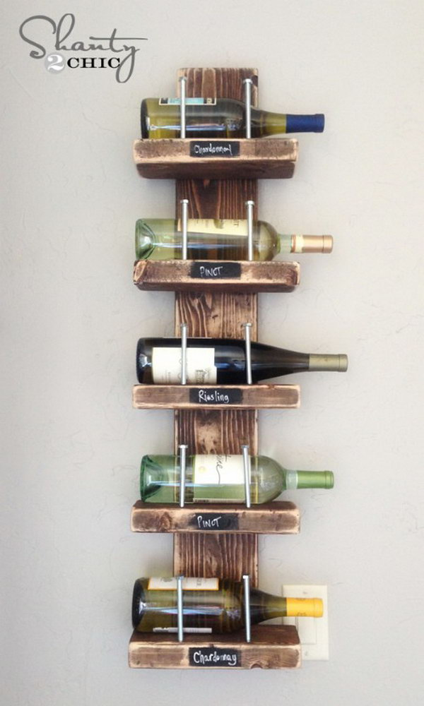 DIY Wooden Wine Shelf. Get the instructions