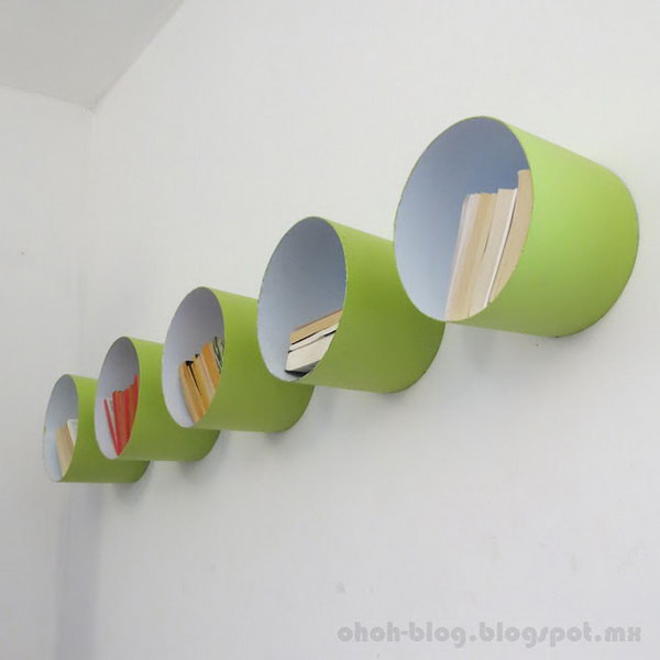 Clever Paint Bucket Shelves. Get the tutorial