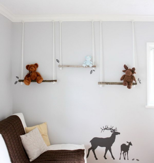 DIY Branch Swing Shelves. Get the instructions