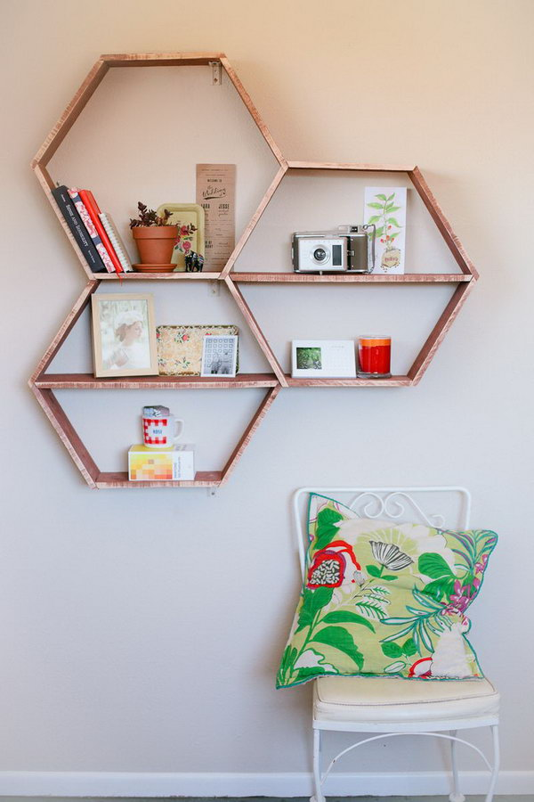 DIY Honeycomb Shelf. Get the tutorial