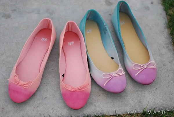 Dip Dye Ombre Ballet Flats. Get the tutorial
