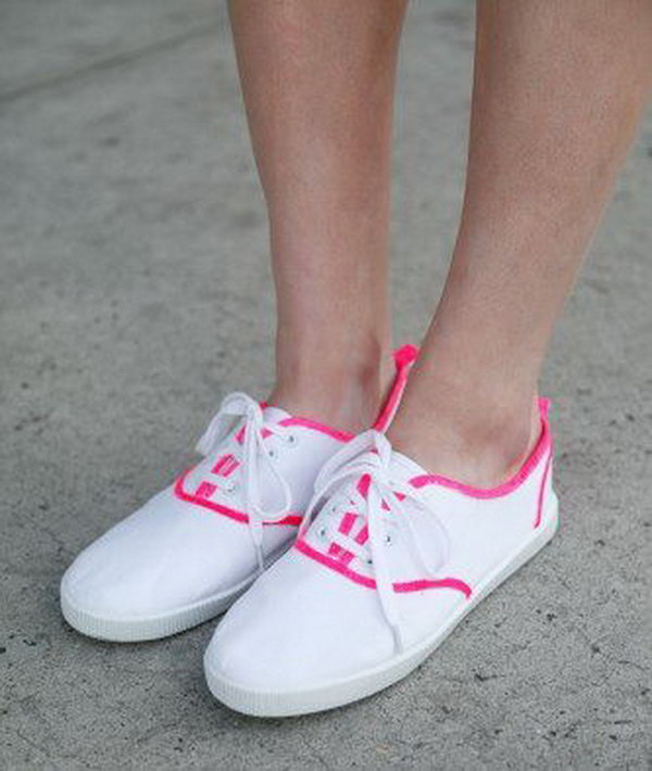 DIY Awesome Neon Lined Canvas Sneakers. Get the instructions