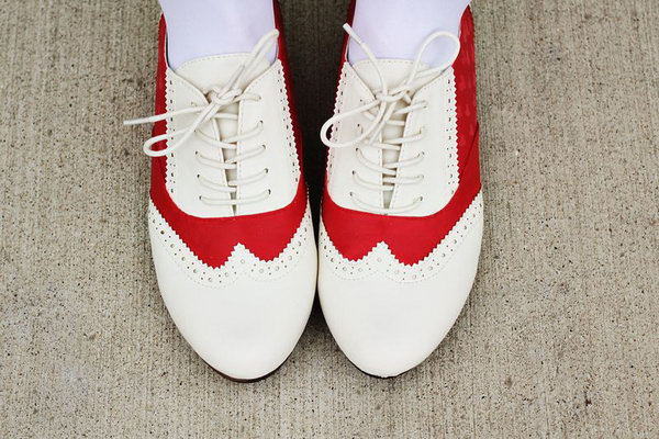DIY Red Sanddle Shoes. Get the instructions