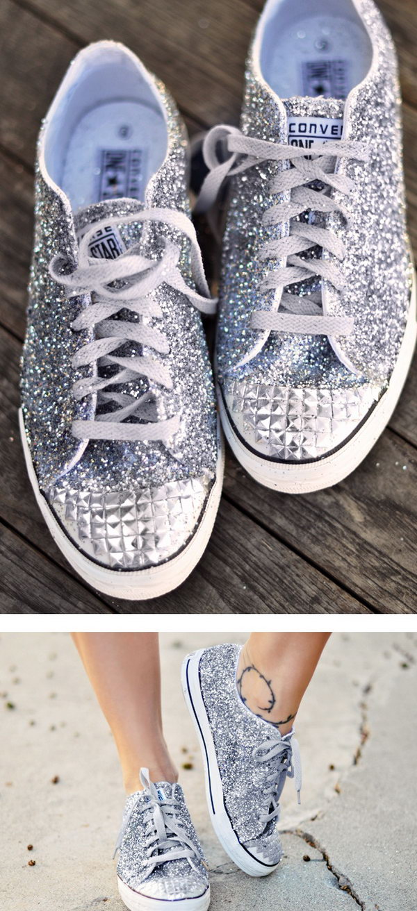 Bling Bling Converse Shoes. It would be cute if all the girls wore silver converse style. Not to mention comfortable! See the directions