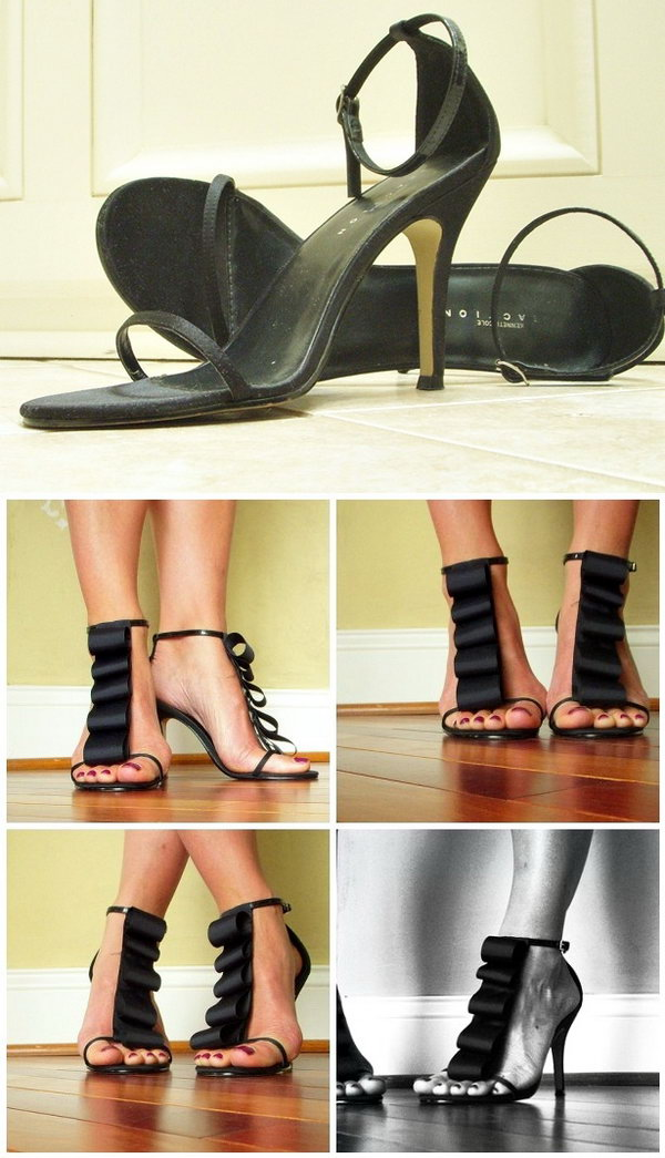 DIY Ruffled Styling Black Heels. Plain black heels get a fashionable look with an easy change.  See the directions