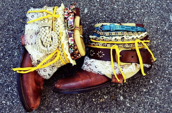 Easy DIY Belted Boots Using Old Cowboy Boots and Some Rad Belts. See the directions