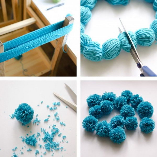 The Easiest Ever Yarn Pom poms DIY Tutorial. Fluffy pom poms are so cute, and we can make them into almost everything such as blankets, scarves, chandelier, toy animals and more. Here is the easiest way I found for you to make your own pom poms at home. Tutorial via