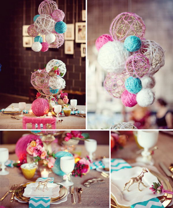 Lovely and Diy able Spray Paint Yarn Balls. What a beautiful idea nice for the shower. See more pictures from