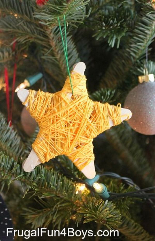 DIY Yarn Wrapped Popsicle Stick Stars. Craft these shaped yarn popsicle stick stars to adorn your Christmas tree with kids. This would not only be cute, but great for fine motor skills. Tutorial via