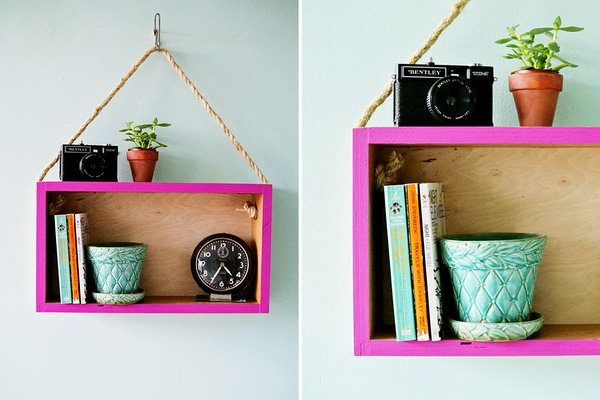 DIY Modern Hanging Shelf. Get the tutorial