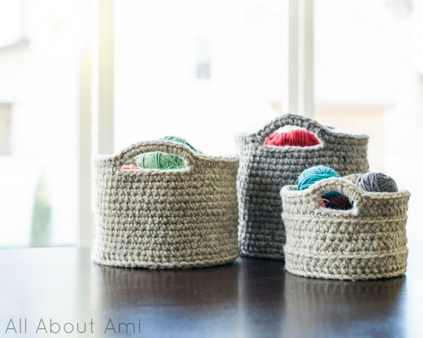 Crocheting Easy Projects : Chunky Crocheted Baskets. Beginners crochet project. Make gorgeous ...
