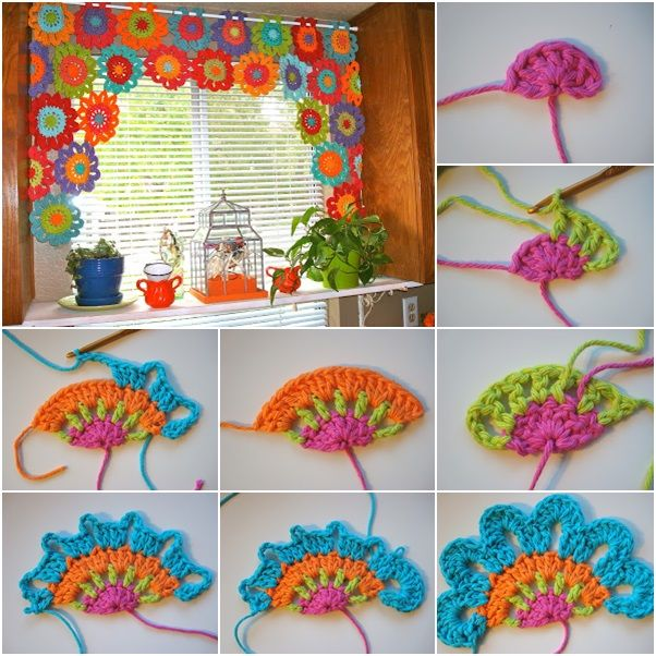 DIY Beautiful Crochet Flower Power Valance. The crochet pattern is ...