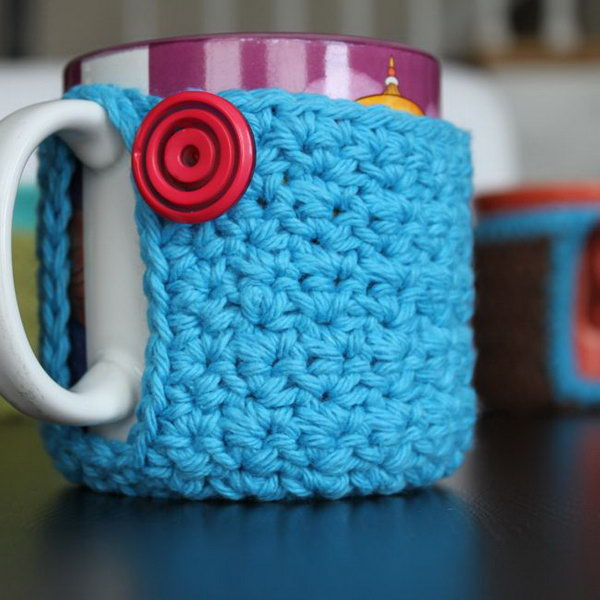 Crocheting Easy Projects : Crochet Mug Cozy. A crochet coffee cozy is a knitted piece that wraps ...