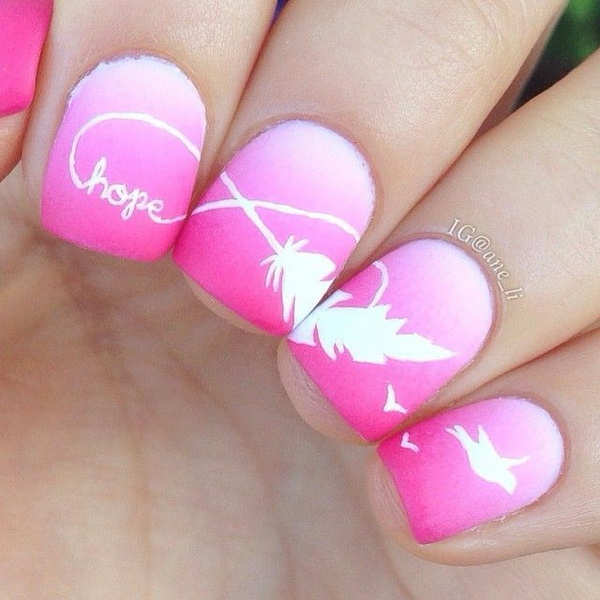 Feather Nail Designs With Infinity Sign