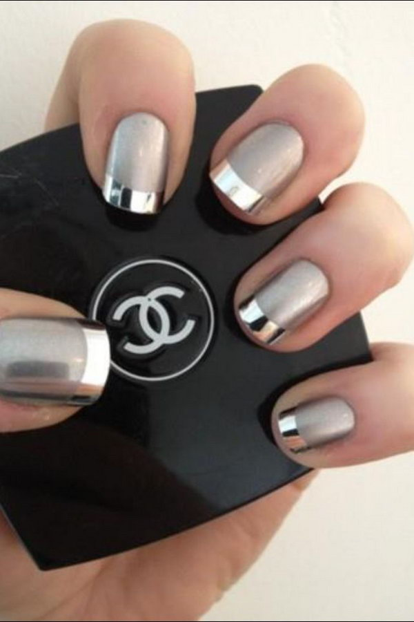 Metallic Silver French Manicure. Using a matte silver coat as based and tipped with shiny and metallic silver polish. This nail combines the classic French tip with the metallic trend perfectly!