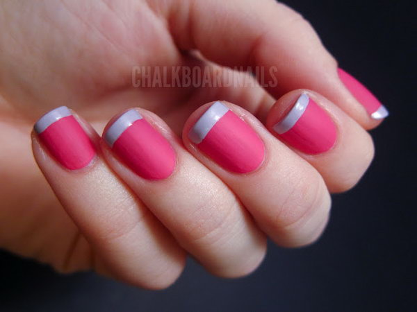 Hot Pink Base and Light Purple Tipped Valentine's French Manicure. Get the tutorial