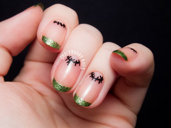 Frankenstein French and Simple Stitched Moons Manicure. See more instructions