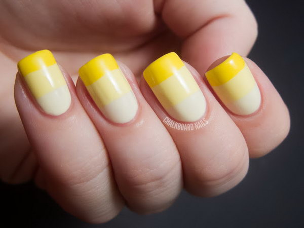 Yellow Ombre French Nails. See the tutorial