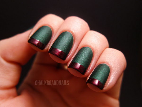 Gorgeous Green and Red Matte Combination French Nails. Get the tutorial
