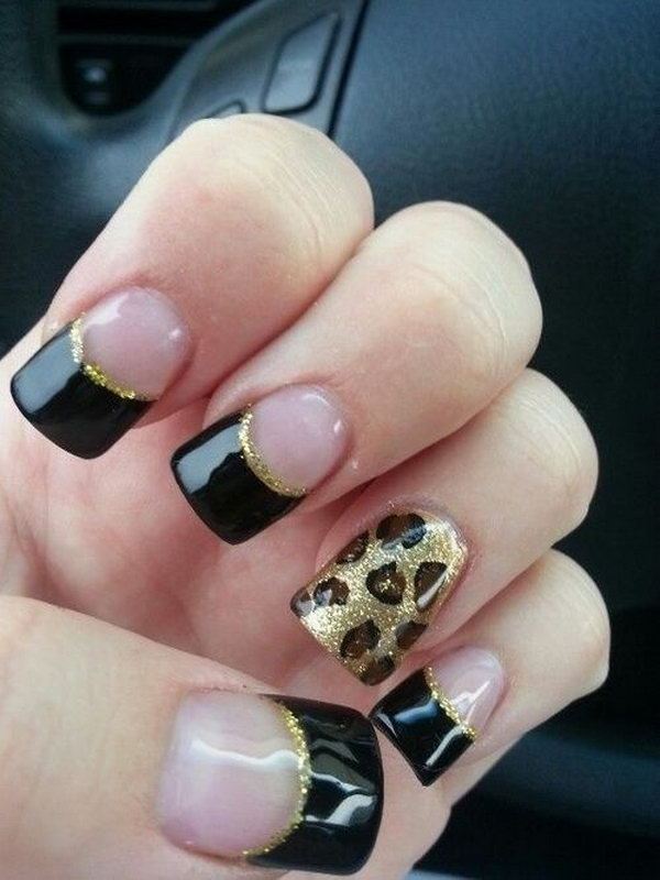 Leopard Black Glitter French Mani 29 Tip Nail Designs