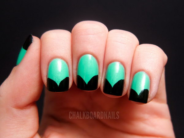 Jade Curtain Shapped French Tip Nails. The nails are coated with jade  as the base, using black as the tip; designed in curtain shapes. So pretty! Get the tutorial