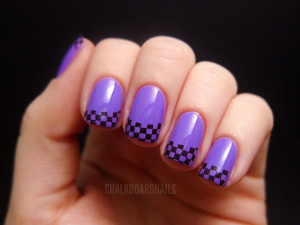 Purple Coated French Nails with Small Black Blocks. Get the directions