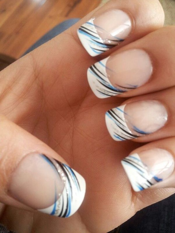 French Manicure with Blue and Black Lines.