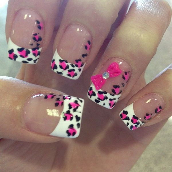 Cheetah and Bow French Nails.