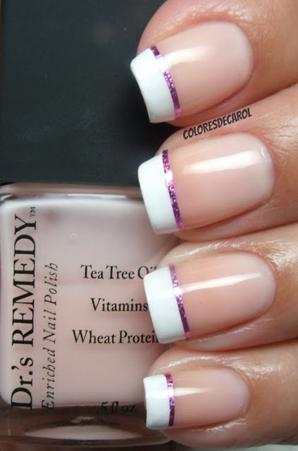 French Tips Nail with a Sliver of Pink.