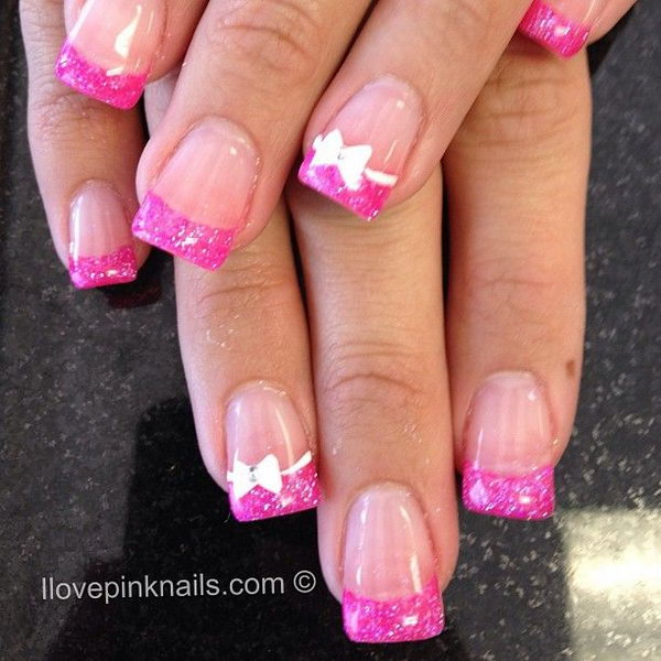 Pink and White Rock Star French Nails.