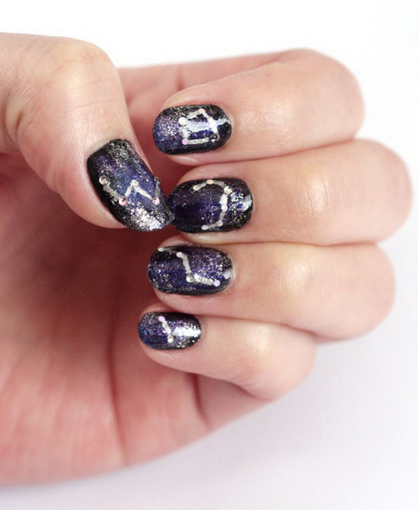 Galaxy Nail Art Design. Tutorial
