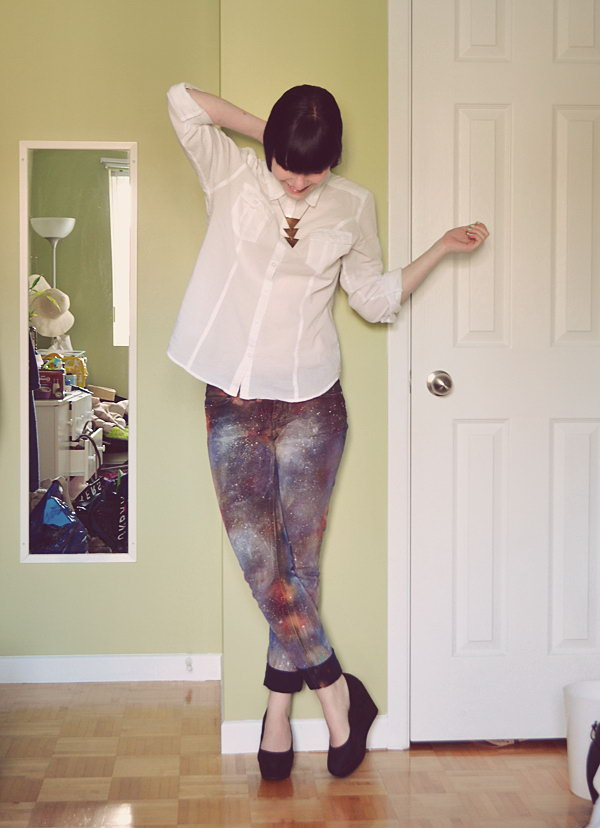 DIY Galaxy Jeans. Gorgeous transformation. Tutorial