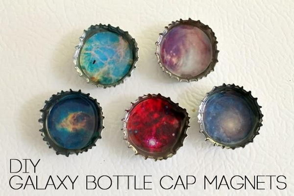 DIY Galaxy Bottle Cap Magnets. Cool way to use the dimensional magic! Tutorial