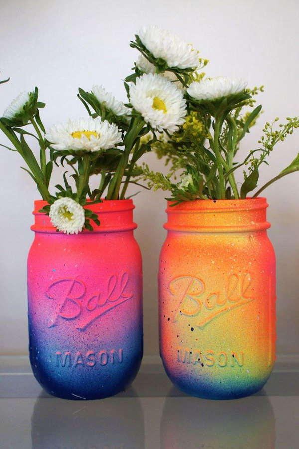 How To Spray Paint Mason Jars Ombre