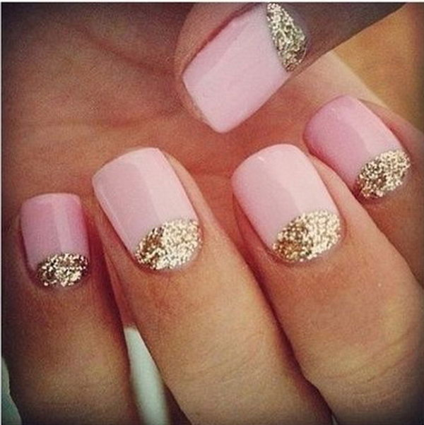 Pinkish and Sparkly Half Moon Nails.