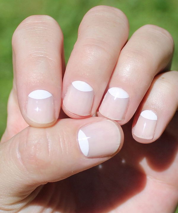 Simple White Half Moon Nails.