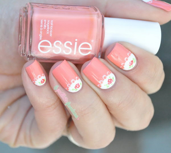 Romantic Roses Half Moon Nail Art. See more details