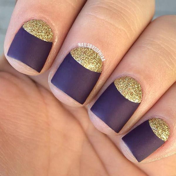Shimmery Gold and Deep Purple Half Moon Nails.