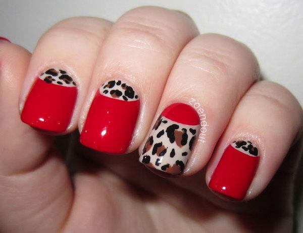 Sassy and Classy Leopard Half Moon Nails.