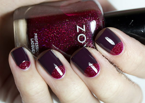 Glitter Red Half Moon Nails. See the tutorial