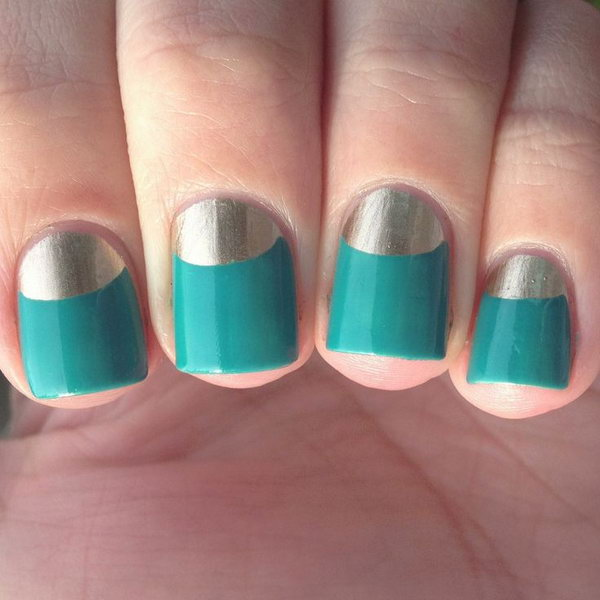 Turquoise and Gold Half Moon Nails.